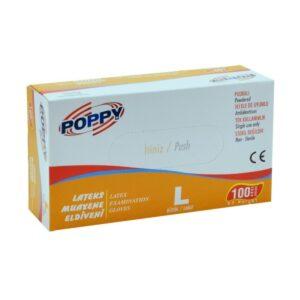 Gumikesztyű Poppy Latex púderes L 100db