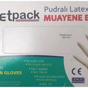 YetPack gumikesztyű latex, púderes L